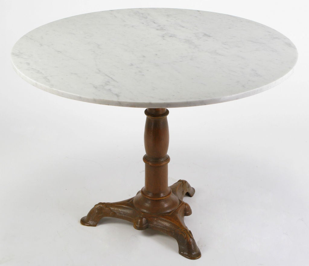 Round Carrera Marble And Cast Iron Pedestal Dining Table At 1stdibs
