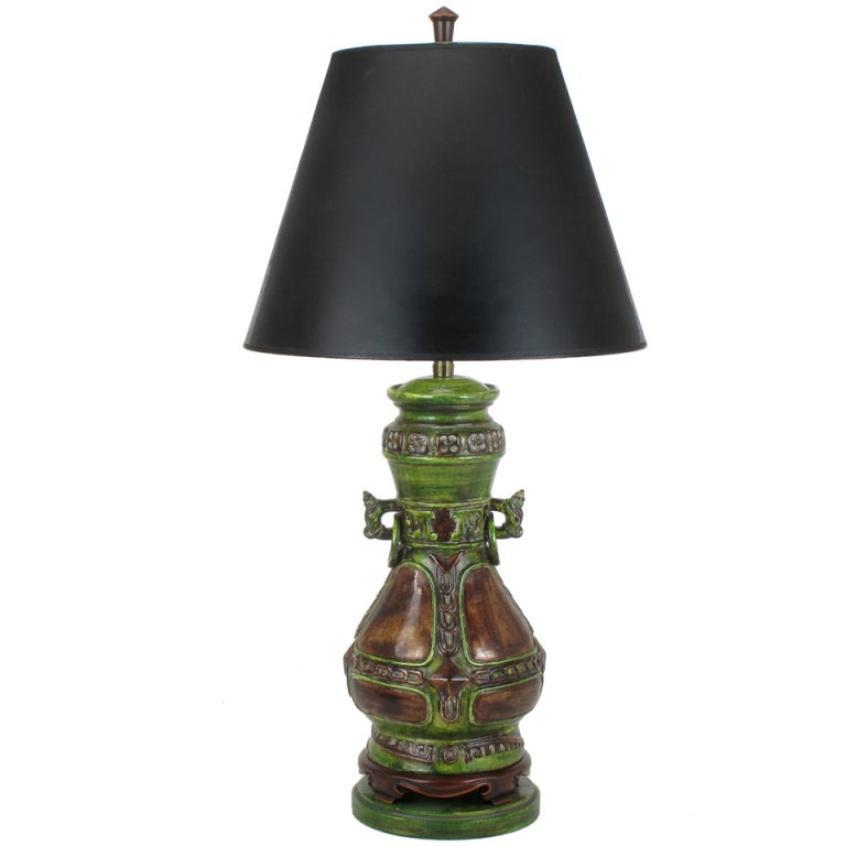 Marbro Ceramic Chinese Urn Style Crackle Finish Table Lamp With Dragons