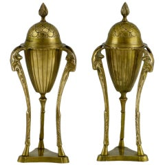 Pair Brass Rams Heads & Hooves Empire Style Censers