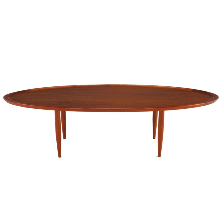 Sculpted teak oval tray coffee table for sale at 1stdibs for Oval teak coffee table