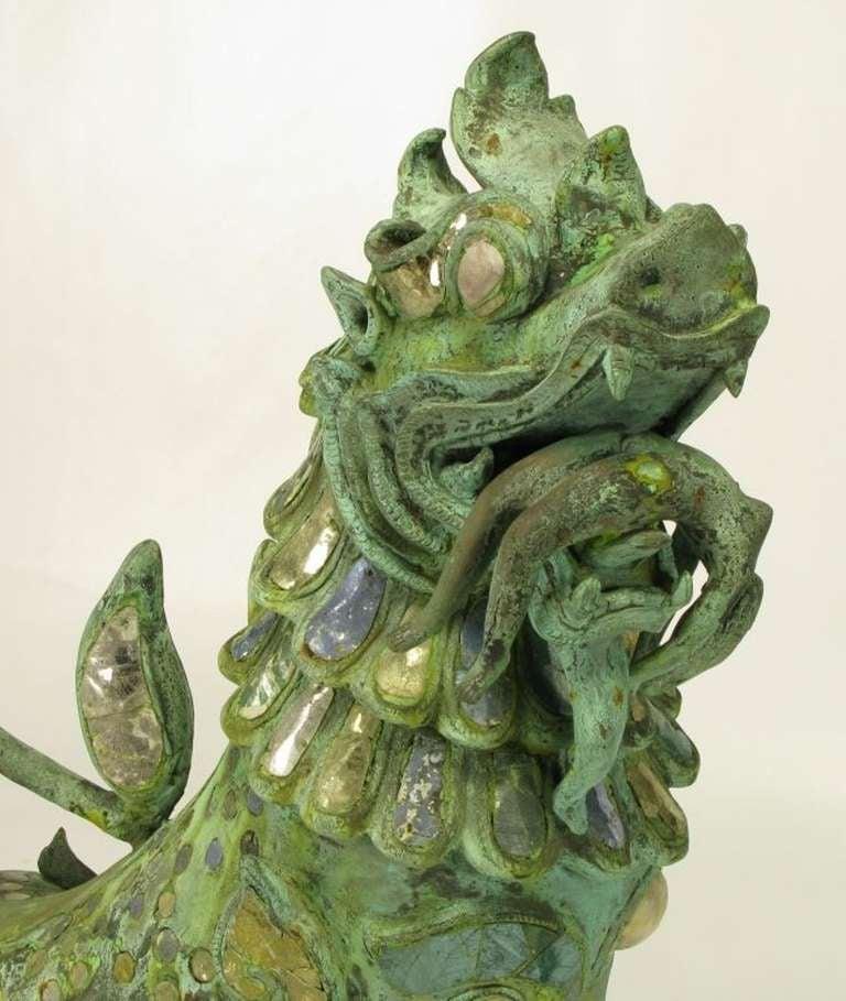 Pair Massive Phyllis Morris Bronze Dragons Holding Female