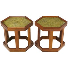 Pair of Brown Saltman Walnut and Reverse Painted Glass Side Tables