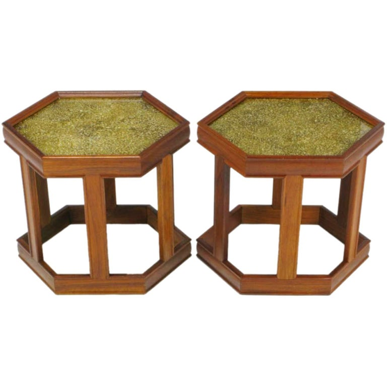 Pair of Brown Saltman Walnut and Reverse Painted Glass Side Tables For Sale