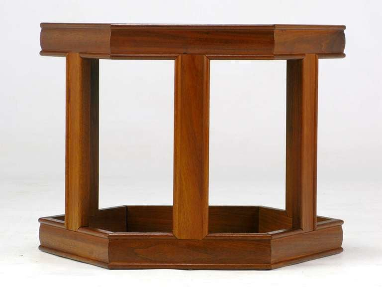 American Pair of Brown Saltman Walnut and Reverse Painted Glass Side Tables For Sale
