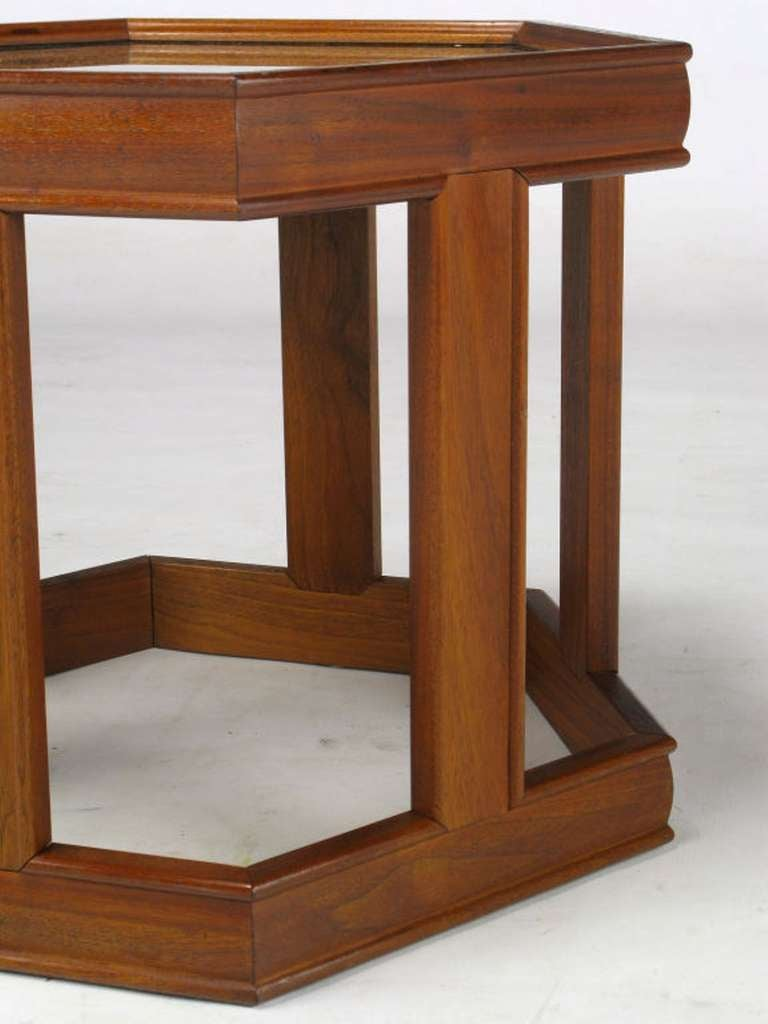 Pair of Brown Saltman Walnut and Reverse Painted Glass Side Tables In Good Condition For Sale In Chicago, IL