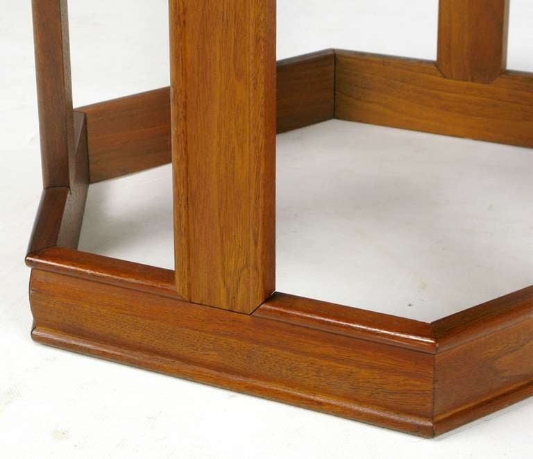 Mid-20th Century Pair of Brown Saltman Walnut and Reverse Painted Glass Side Tables For Sale