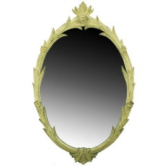 Hand-Carved French Regence Style Mirror with Gilt Ivory Glaze