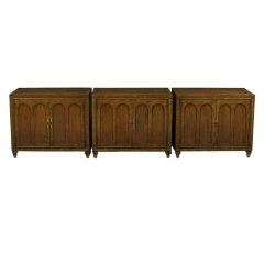 Trio of Mastercraft Burled and Walnut Colonnade Cabinets