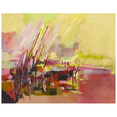 "Amethyst and Yellow Abstract Oil on Canvas Titled ""Everglades"""