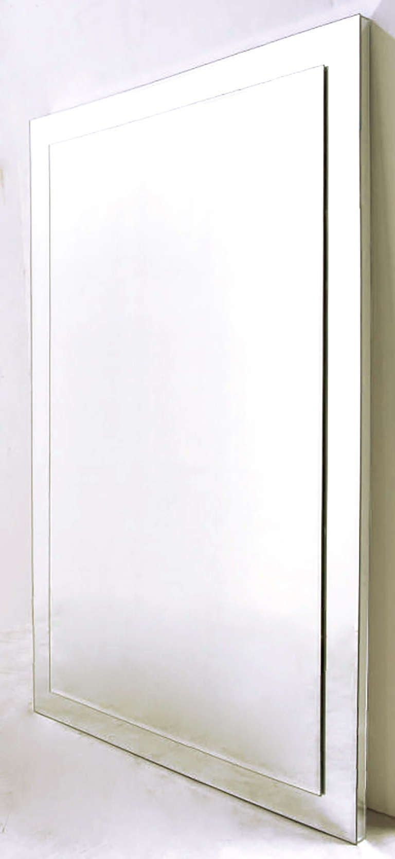 American Custom Beveled-on-Beveled Glass Wall Mirror For Sale