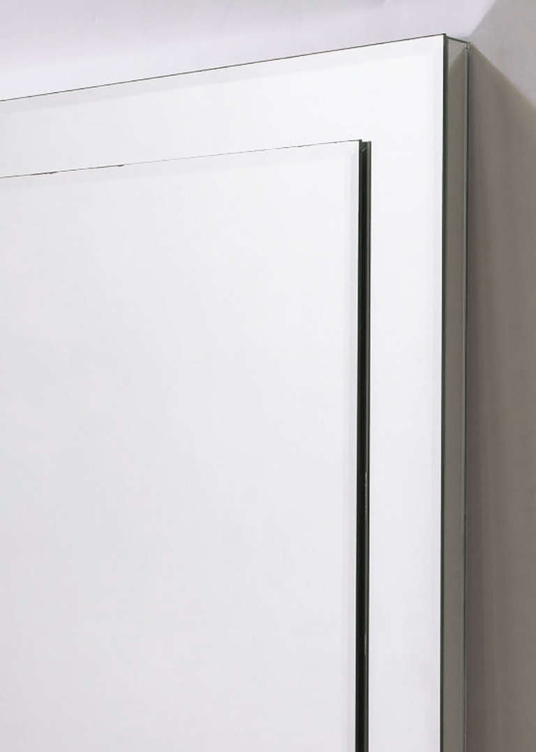 Custom Beveled-on-Beveled Glass Wall Mirror In Excellent Condition For Sale In Chicago, IL