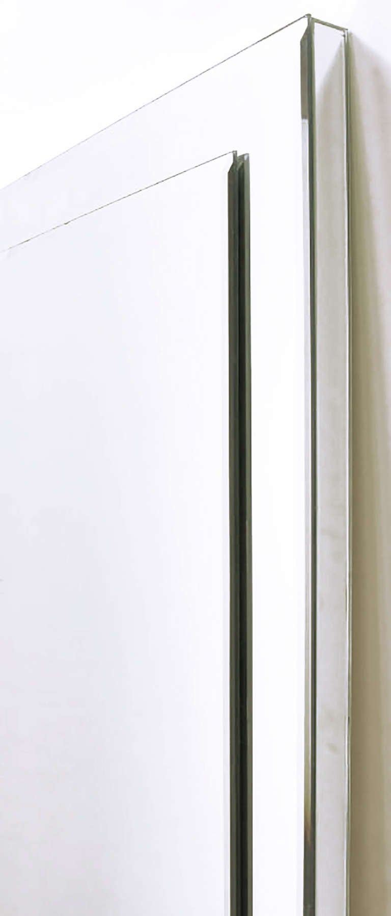 Custom Beveled-on-Beveled Glass Wall Mirror For Sale 2