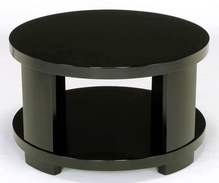 Round Two-Tier Ebonized Wood Coffee Table For Sale 1
