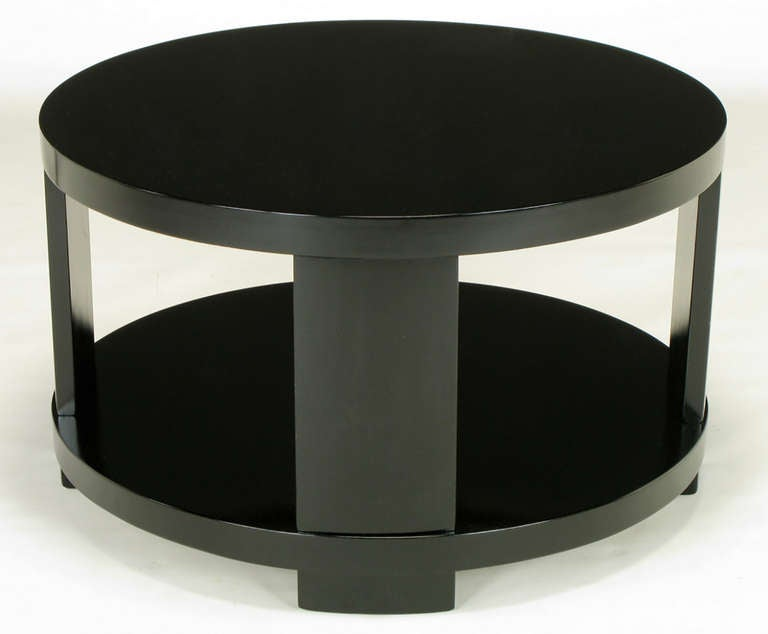 Mid-20th Century Round Two-Tier Ebonized Wood Coffee Table For Sale
