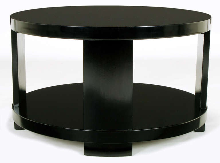 American Round Two-Tier Ebonized Wood Coffee Table For Sale