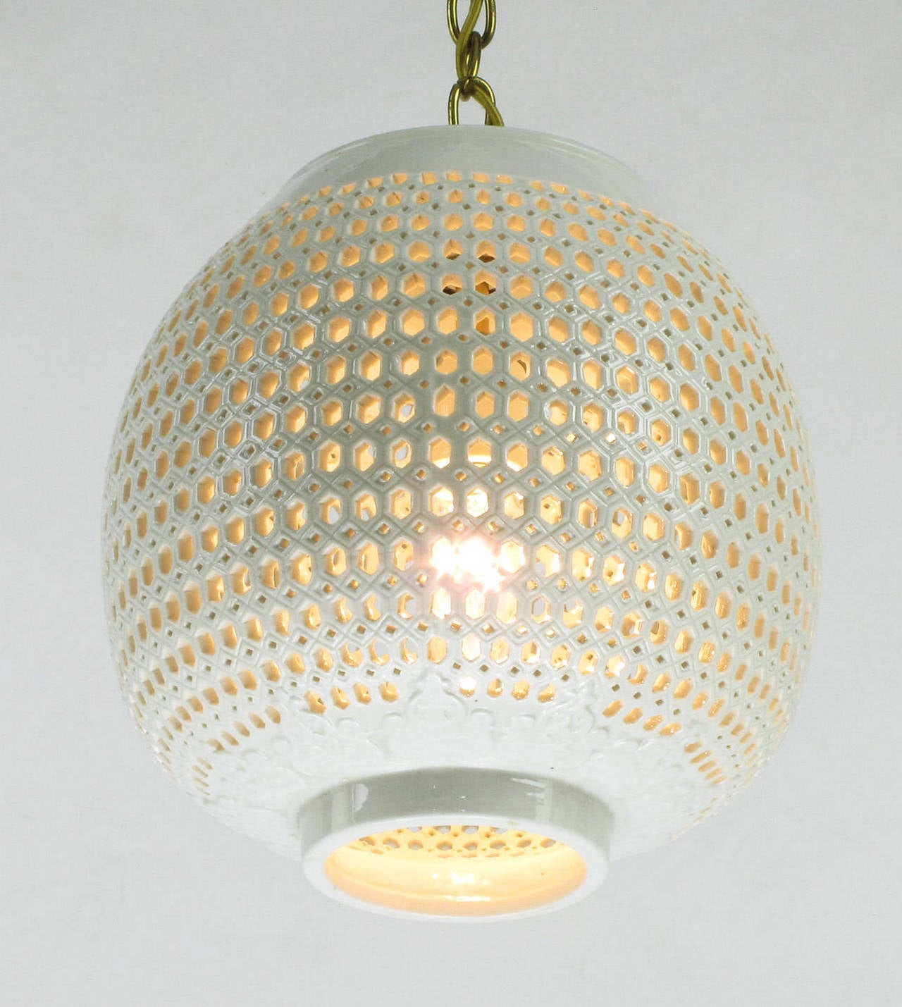 reticulated blanc de chine gourd form pendant light at 1stdibs