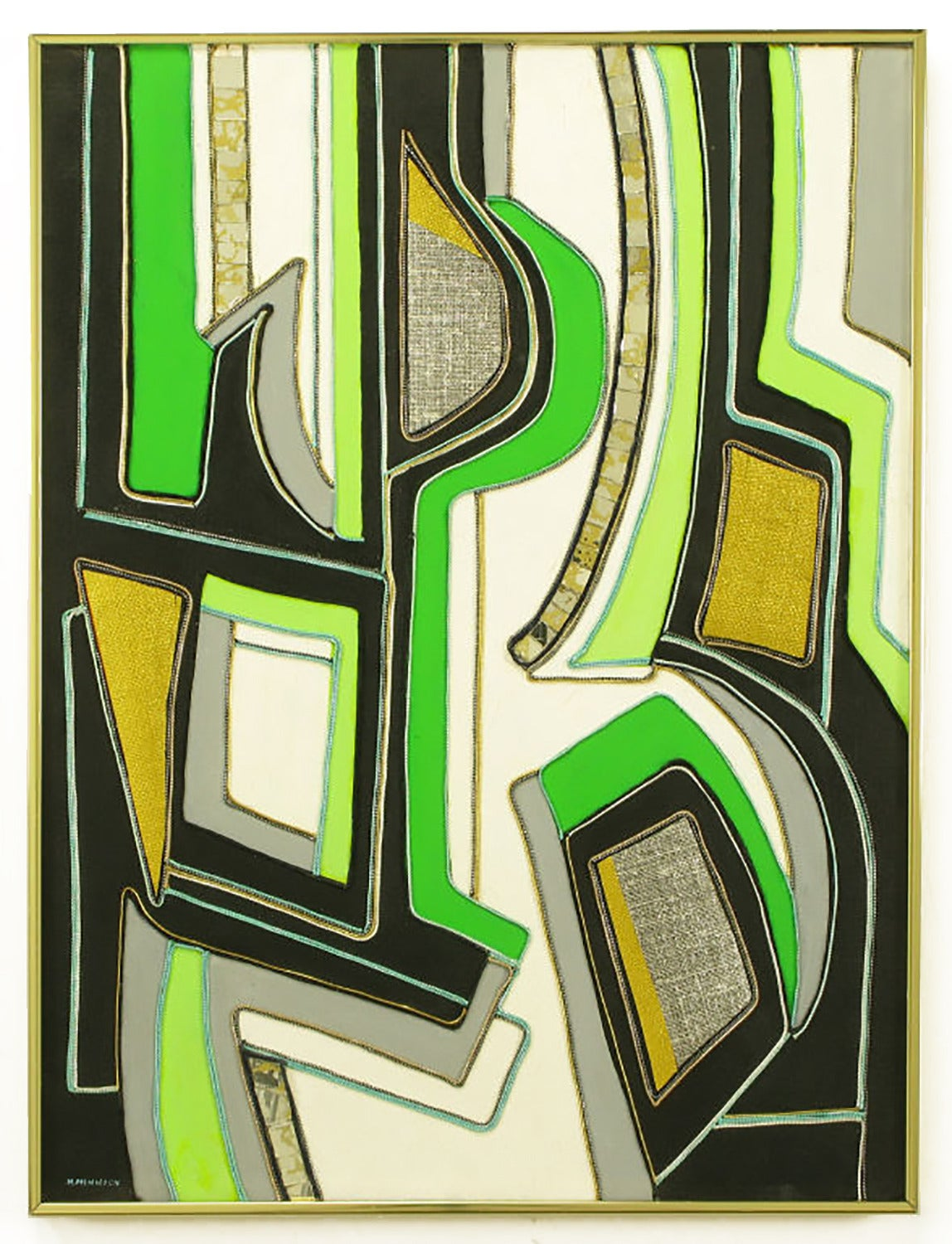 Abstract mixed media art piece using pieces of zippers, textiles, mirror, and painting of acrylics on canvas. Vibrant colors of chartreuse, white, black, grey and green. Signed H. Minnick, in a brushed aluminum gallery style frame.
