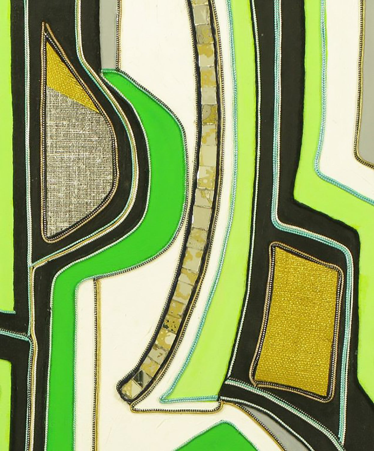 Anodized Green Black and Gold Mixed Media Abstract Painting Signed H. Minnick For Sale