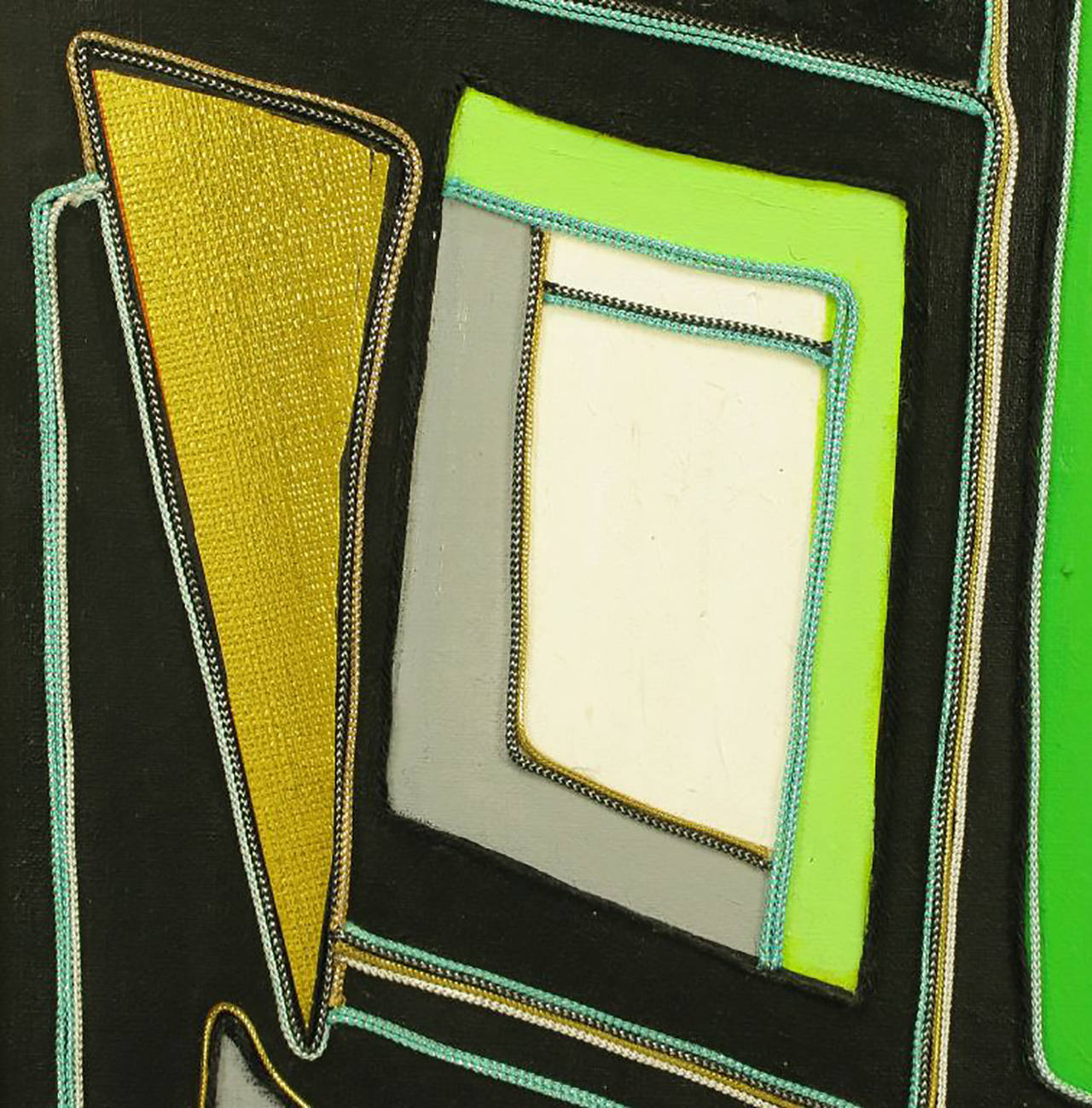 Green Black and Gold Mixed Media Abstract Painting Signed H. Minnick In Excellent Condition For Sale In Chicago, IL