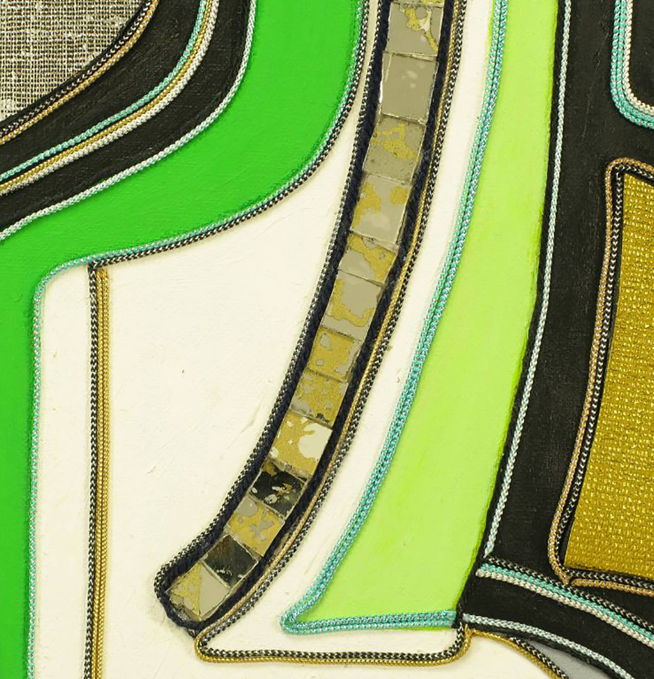 Late 20th Century Green Black and Gold Mixed Media Abstract Painting Signed H. Minnick For Sale