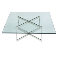 Square Glass & Chromed Steel Double X Based Coffee Table