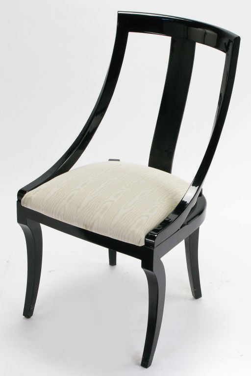 six italian black lacquered and moire dining chairs at 1stdibs