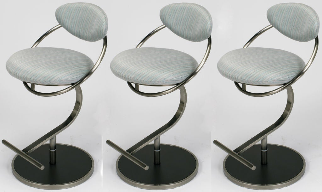 Three Dia Postmodern Brushed Steel And Upholstered Bar