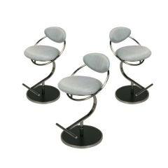 Three DIA Postmodern Brushed Steel & Upholstered Bar Stools