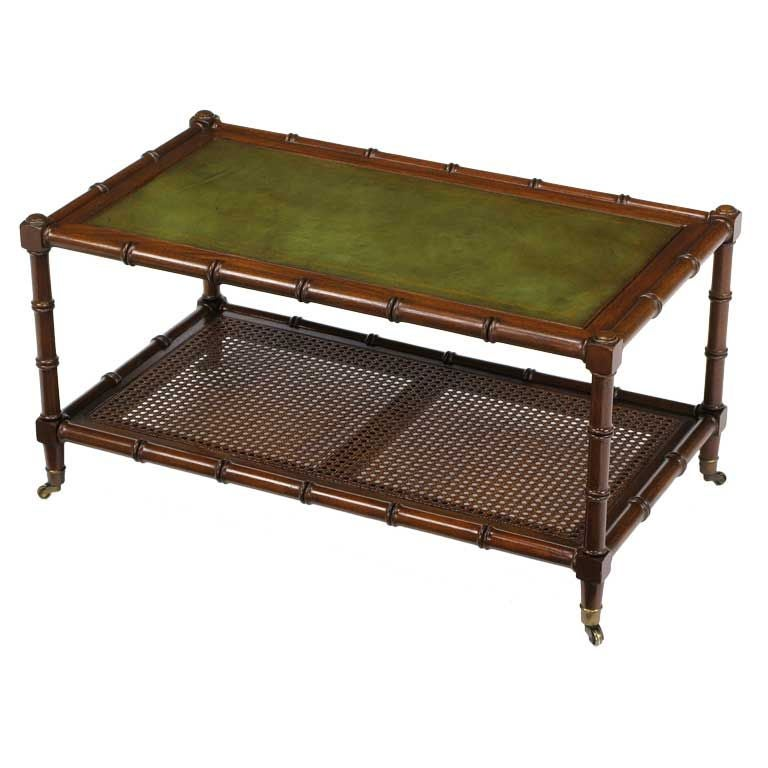 mahogany bamboo form coffee table with tooled leather top at 1stdibs