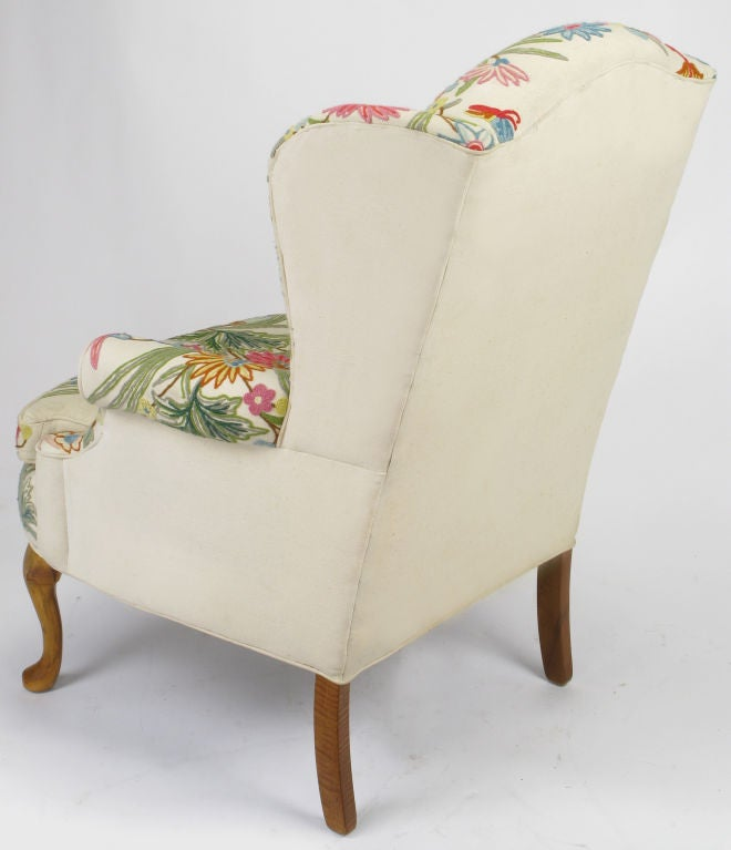 This hand painted hepplewhite style chairs is no longer available - Colorful Floral Wool Crewel Upholstered Wing Chair At 1stdibs