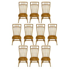 Ten Stylized High Back Windsor Dining Chairs By Hibriten