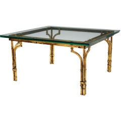 Patinated Gilt Metal Bamboo Coffee Table