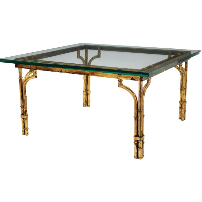 Patinated Gilt Metal Bamboo Coffee Table