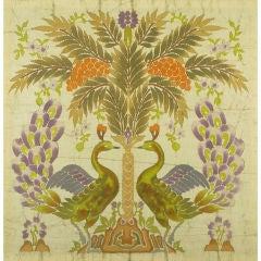Large Silk Batik Mounted Panel Of Peacocks, Flowers & Tree
