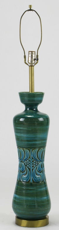 Hand Thrown Blue And Green Glazed Pottery Table Lamp For
