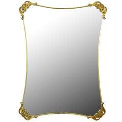 Brass Filigreed Corner Regency Mirror