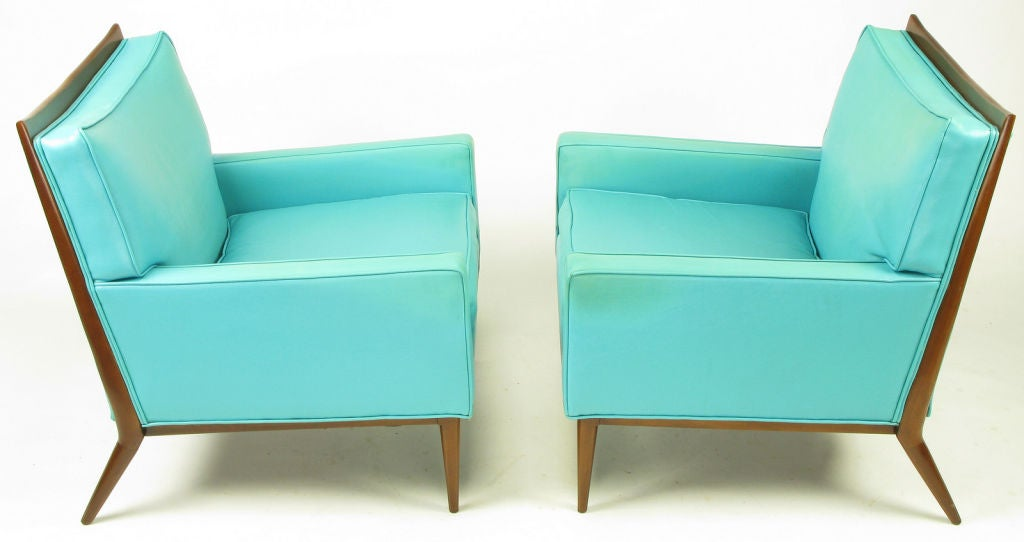 American Pair Paul McCobb Turquoise & Walnut Club Chairs For Sale
