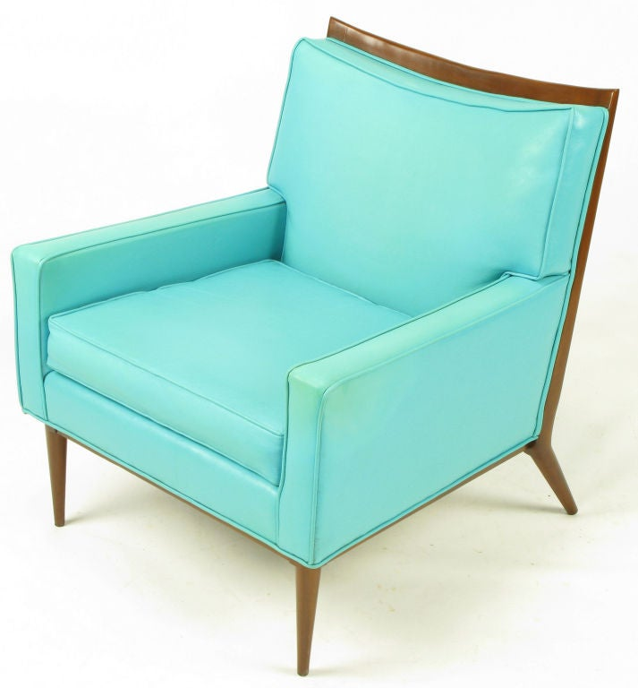 Mid-20th Century Pair Paul McCobb Turquoise & Walnut Club Chairs For Sale