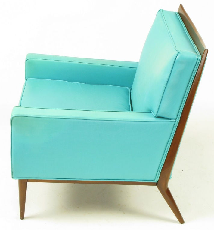 Pair Paul McCobb Turquoise & Walnut Club Chairs For Sale 1