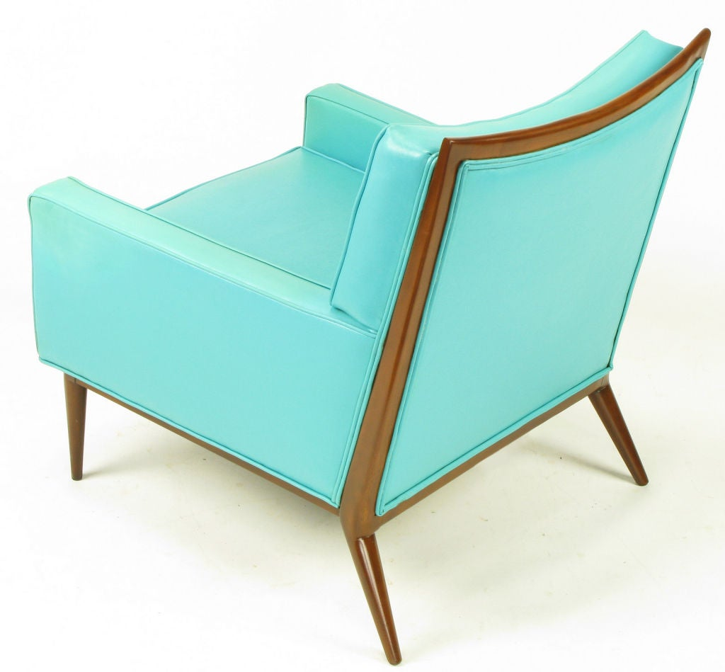 Pair Paul McCobb Turquoise & Walnut Club Chairs For Sale 2