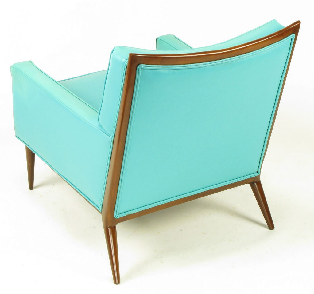 Pair Paul McCobb Turquoise & Walnut Club Chairs For Sale 3