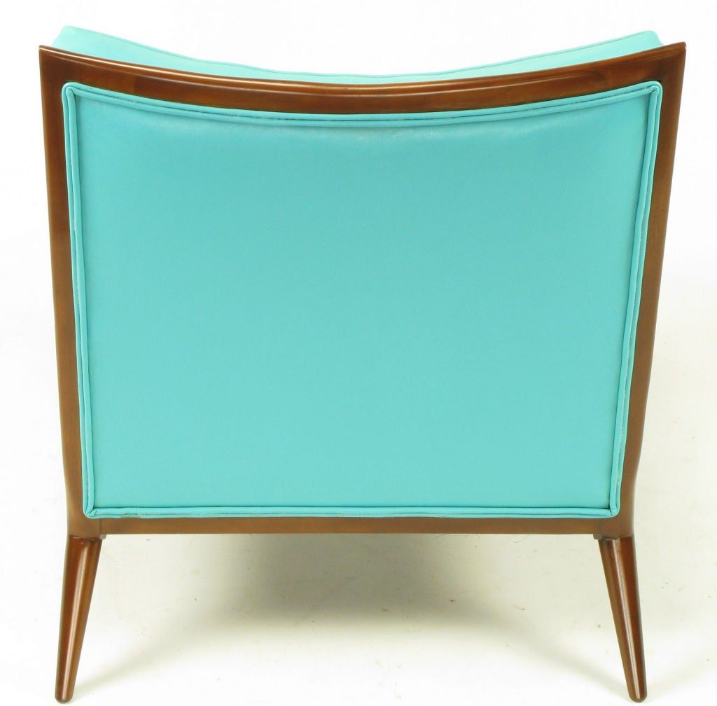Pair Paul McCobb Turquoise & Walnut Club Chairs For Sale 4