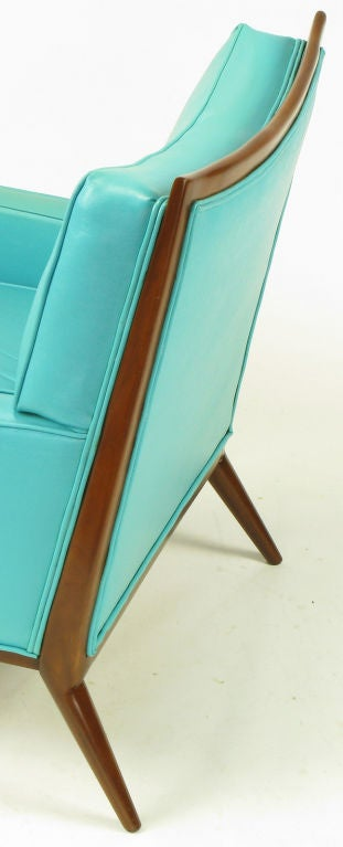Pair Paul McCobb Turquoise & Walnut Club Chairs For Sale 5