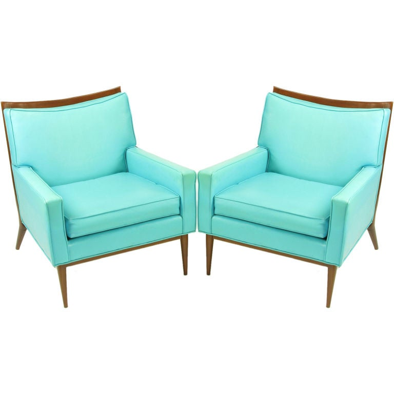 Pair Paul McCobb Turquoise & Walnut Club Chairs For Sale
