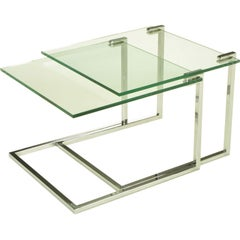 Pair Chrome & Cantilevered Glass Nesting Tables