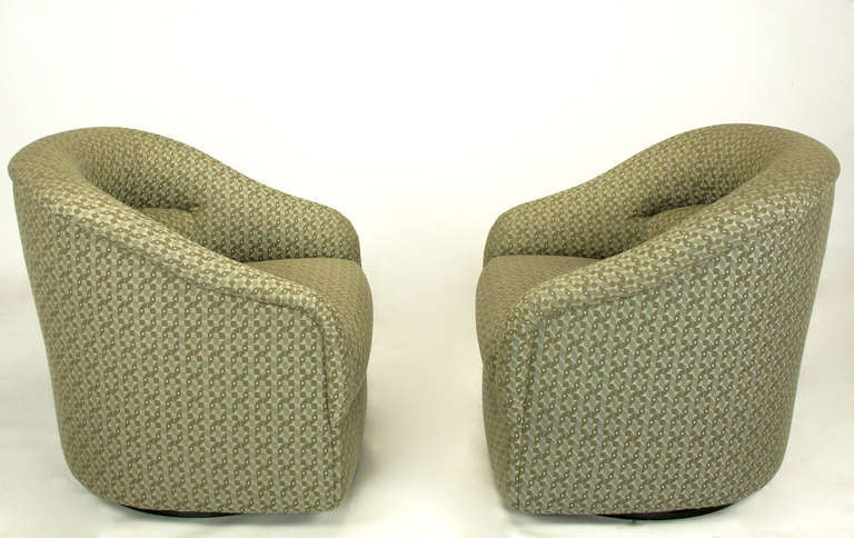 Pair Ward Bennett Barrel Back Swivel Chairs With Geometric