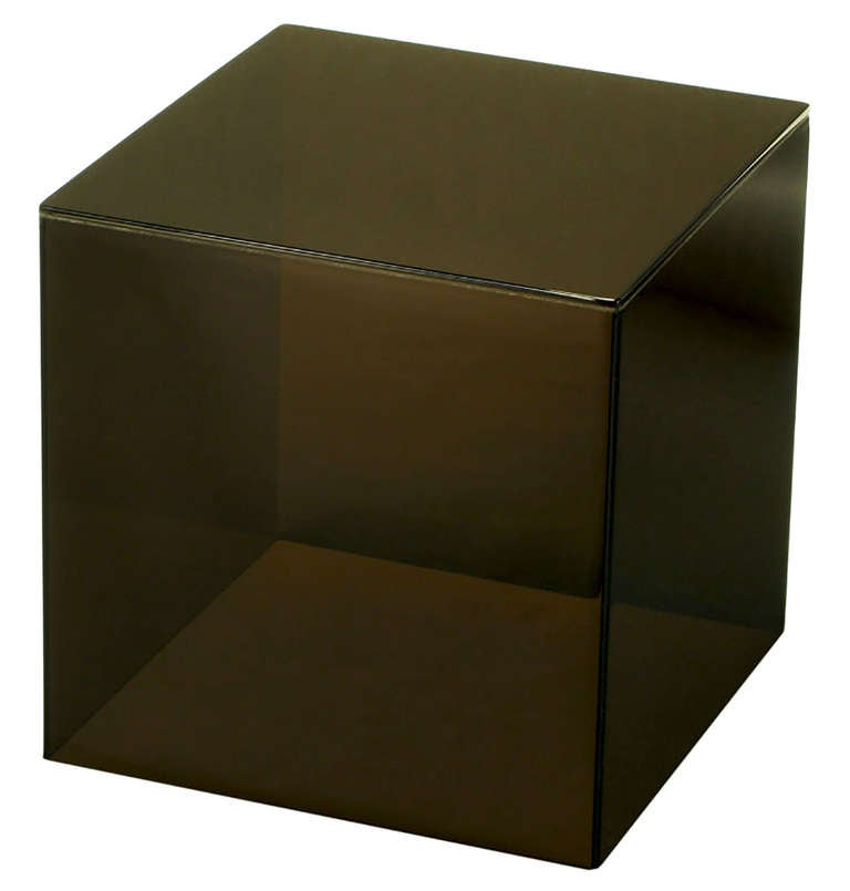 Pair of Smoked Lucite Cube End Tables In Excellent Condition For Sale In Chicago, IL