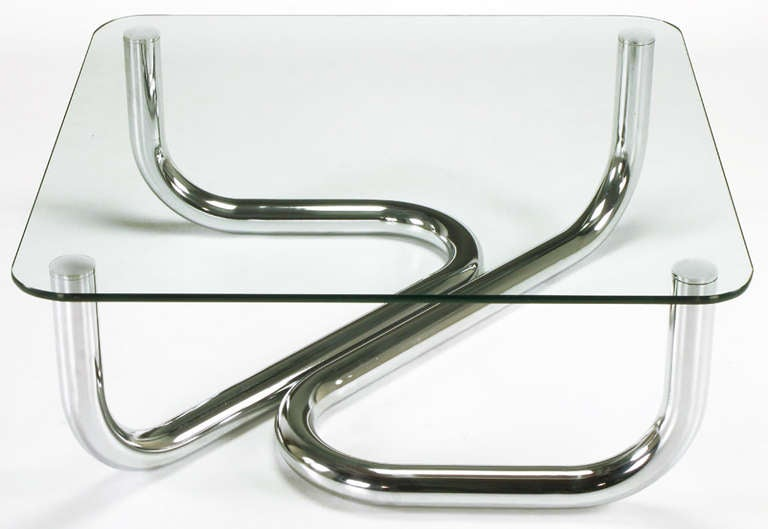 American Sinuous Chrome and Glass Coffee Table For Sale