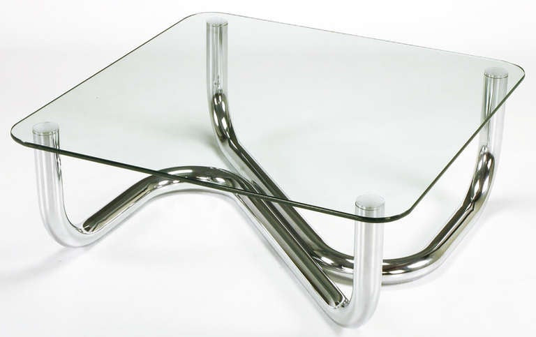Mid-20th Century Sinuous Chrome and Glass Coffee Table For Sale
