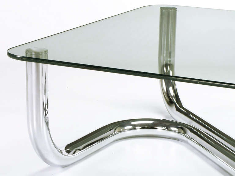 Sinuous Chrome and Glass Coffee Table For Sale 2